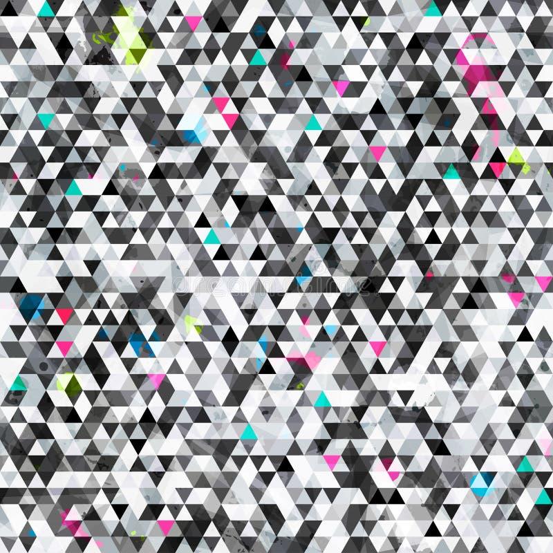 Sömlös modell för stads- triangel med grungeeffekt stock illustrationer