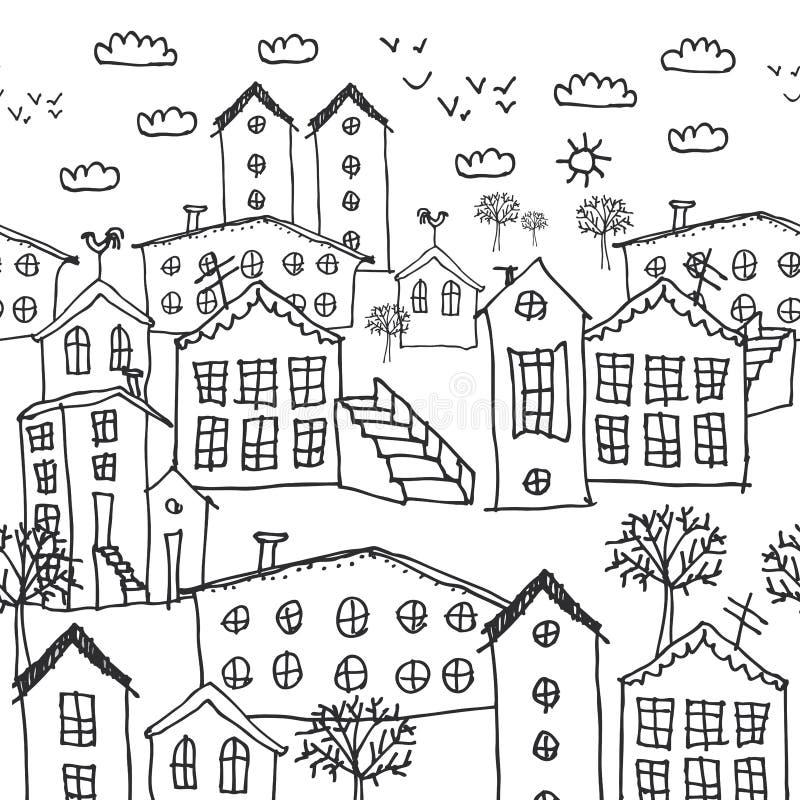 Sömlös modell för stads- vinterlandskap skissa svartvit hand-dragen bakgrund för tapeten, modellpåfyllningar, webbsidabaksida stock illustrationer