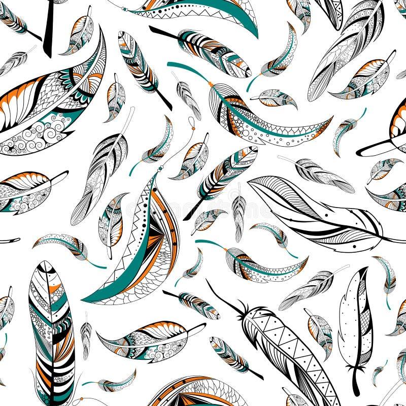 Sömlös modell för stam- bohostilfjäder royaltyfri illustrationer