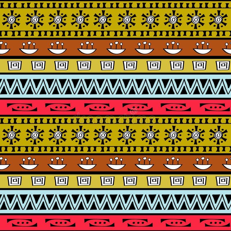 Sömlös modell för stam- konstboho Etniskt geometriskt tryck stock illustrationer