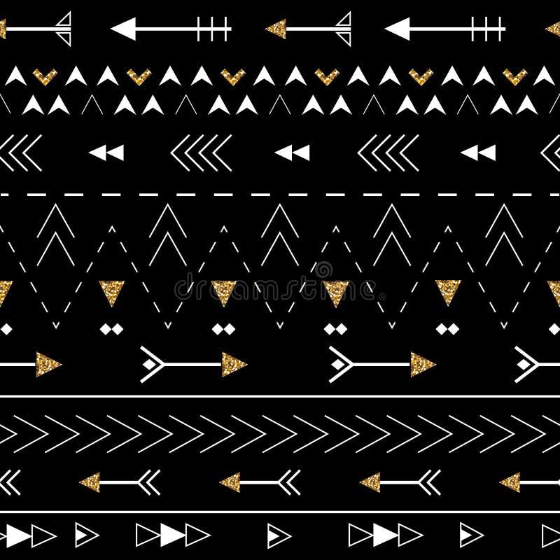 Sömlös modell för stam- konstboho Etniskt geometriskt tryck fönster för textur för bakgrundsdetalj trägammalt Tyg torkdukedesign, stock illustrationer
