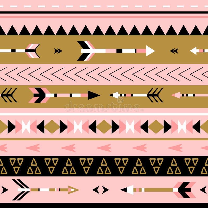 Sömlös modell för stam- pilboho Etniskt geometriskt tryck royaltyfri illustrationer