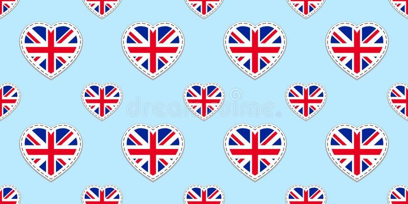 Sömlös modell för Storbritannien flagga Vektorn Förenade kungariket sjunker stikers Förälskelsehjärtasymboler Engelska kurser, sp royaltyfri illustrationer