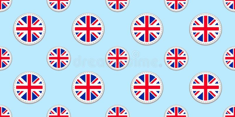 Sömlös modell för Storbritannien rundaflagga Brittisk bakgrund Vektorcirkelsymbol Förenade kungariket geometriska symboler Textur royaltyfri illustrationer