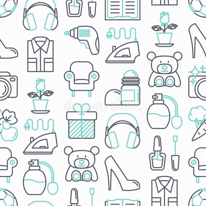 Sömlös modell för stormarknad med den tunna linjen symboler stock illustrationer