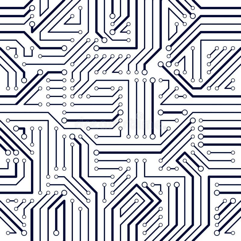 Sömlös modell för strömkretsbräde, vektorbakgrund royaltyfri illustrationer
