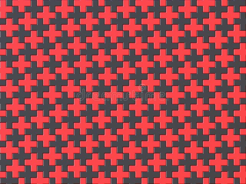 Sömlös modell för svart- och Röda korsetpusselbakgrund 3 royaltyfri illustrationer