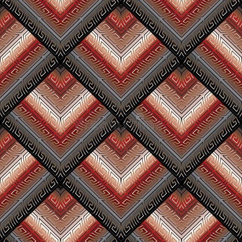 Sömlös modell för svart röd slingringar med guld- grektangentprydnader vektor illustrationer