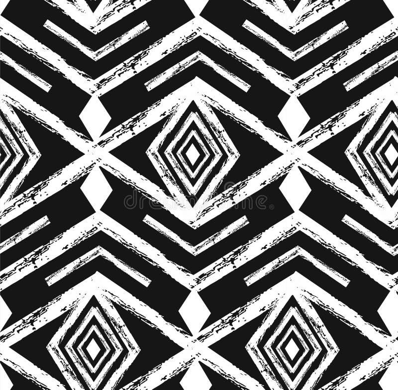 Sömlös modell för svart stam- Navajovektor med klotterbeståndsdelar Abstrakt geometriskt konsttryck för Aztec etnisk hipster royaltyfri illustrationer