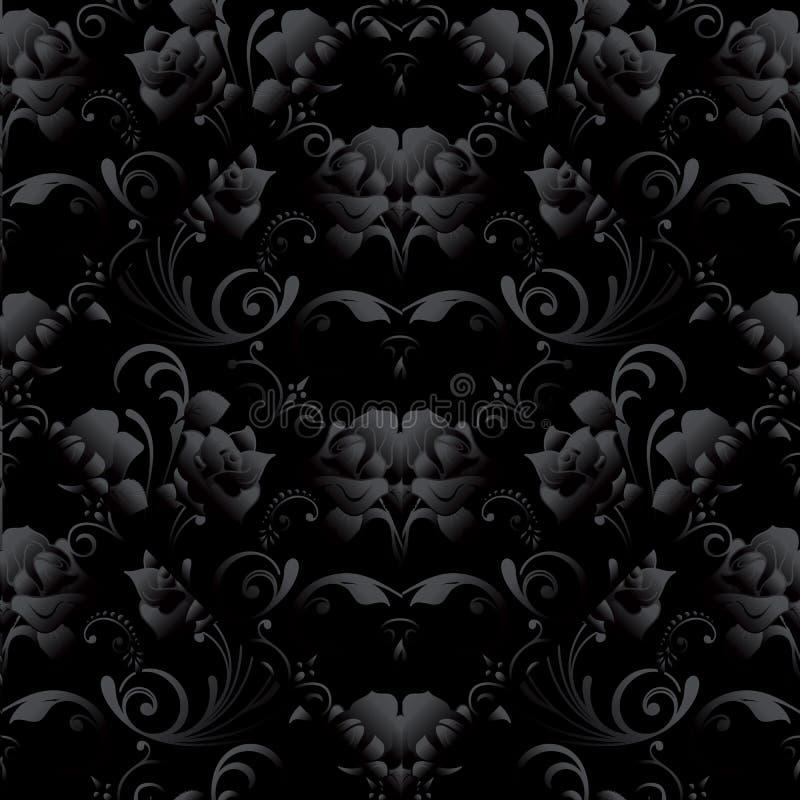 Sömlös modell för svarta rosor Backgroun för mörk svart för vektor blom- vektor illustrationer