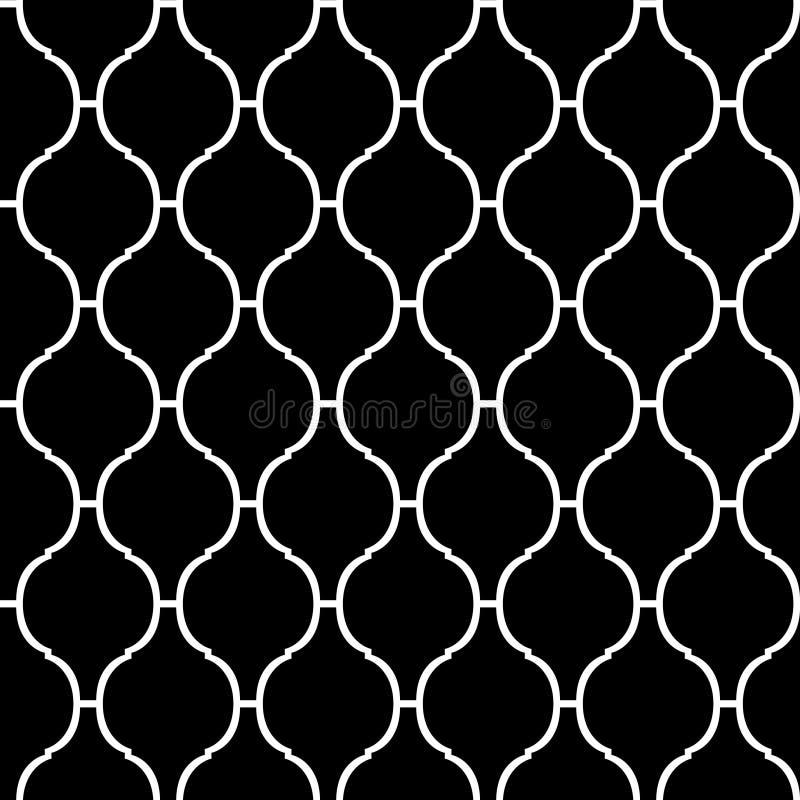 Sömlös modell för svartvit arabisk traditionell quatrefoil, vektor vektor illustrationer
