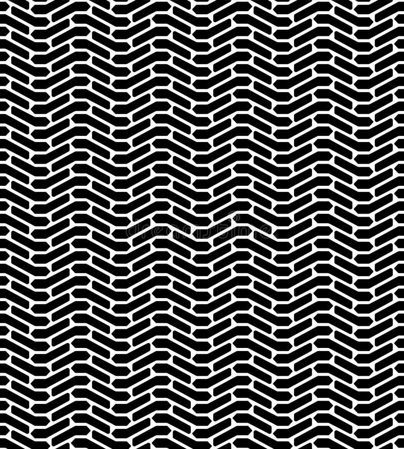 Sömlös modell för svartvit för gummihjuldäckmönsterbeskyddande för spår geo för abstrakt begrepp, vektor stock illustrationer