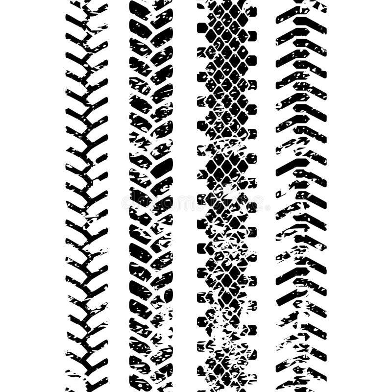 Sömlös modell för svartvit för gummihjuldäckmönsterbeskyddande grunge för spår, vektoruppsättning royaltyfri illustrationer