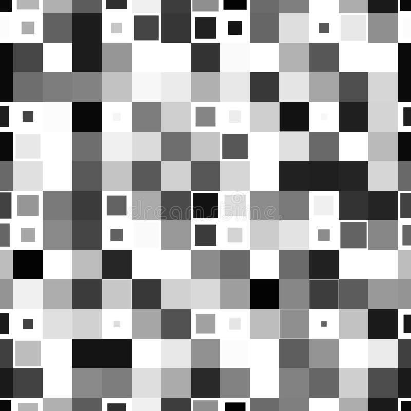 Sömlös modell för svartvit fyrkantig PIXELmosaik stock illustrationer