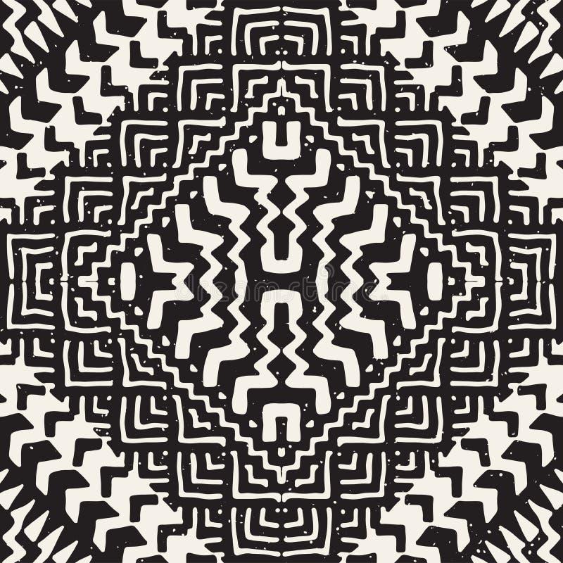 Sömlös modell för svartvit stam- vektor med klotterbeståndsdelar Aztec tryck för abstrakt konst Etnisk dekorativ hand vektor illustrationer
