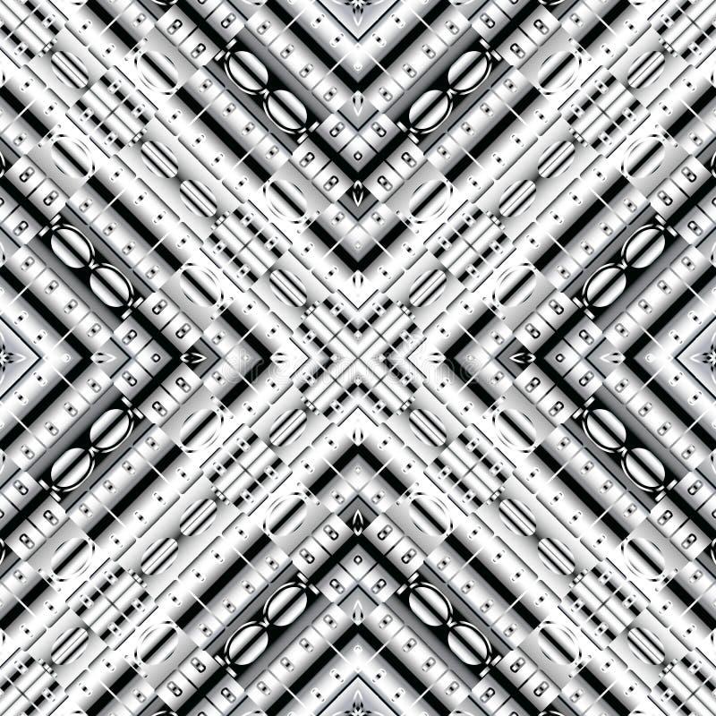 Sömlös modell för svartvit vektor 3d Geometriskt ytbehandla randig bakgrund Upprepa dekorativt försilvrar bakgrunden geometri vektor illustrationer