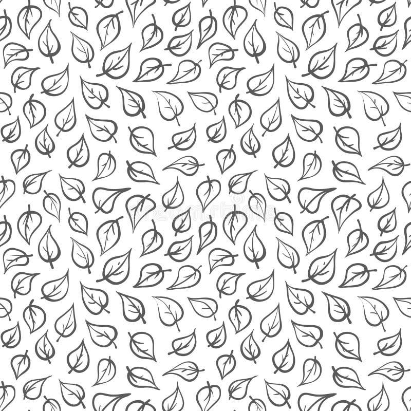 Sömlös modell för svartvit vektor för klotterbladväxt geometrisk tecknad handmodell stock illustrationer