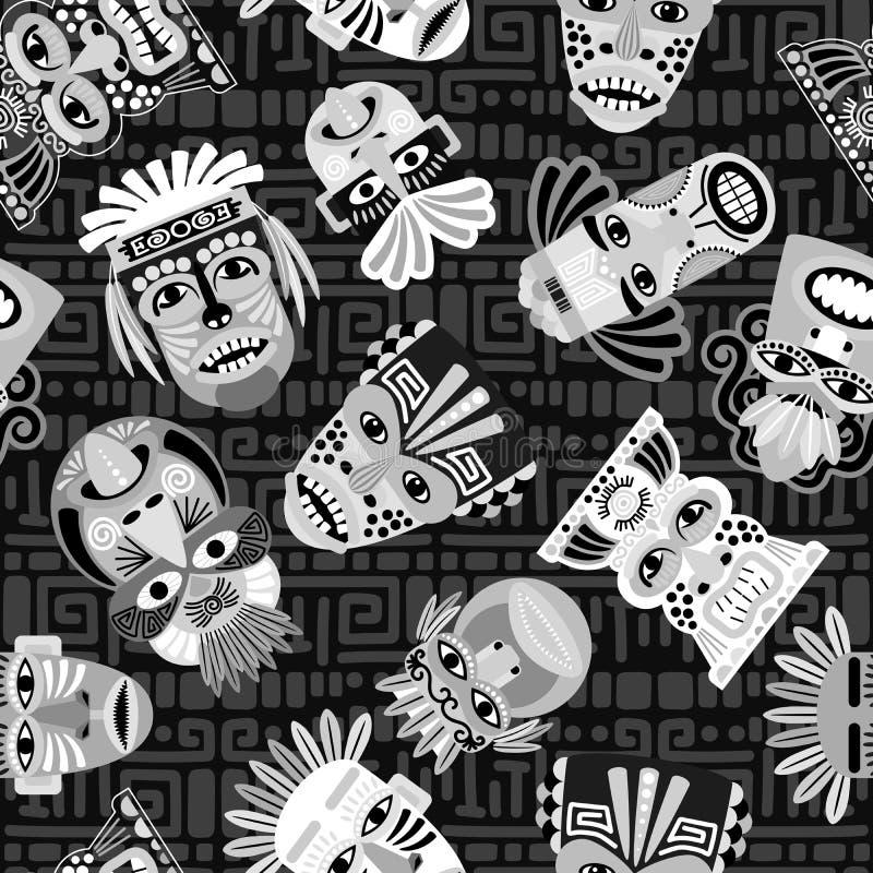Sömlös modell för svartvita maskeringar stock illustrationer
