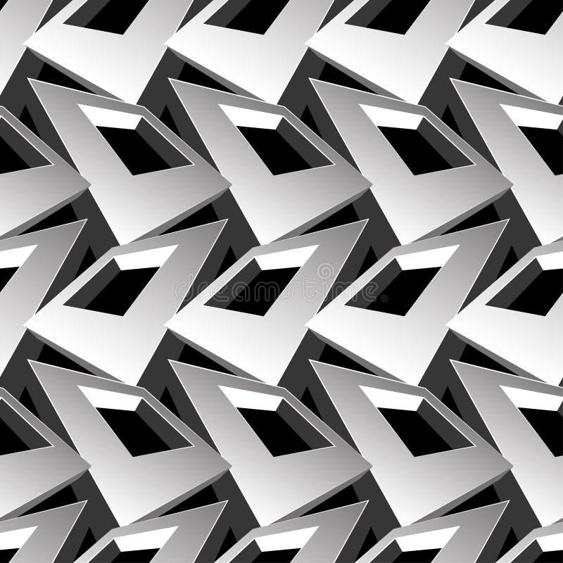 Sömlös modell för svartvitt abstrakt begrepp för fyrkant 3D stock illustrationer