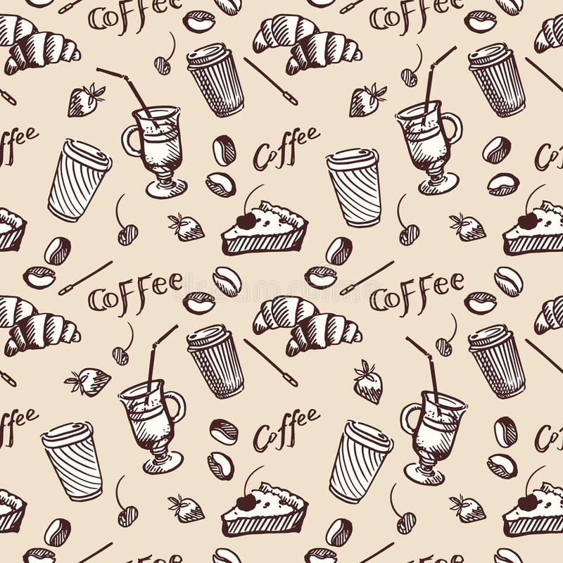 Sömlös modell för tappning av kaffe och muffin vektor illustrationer