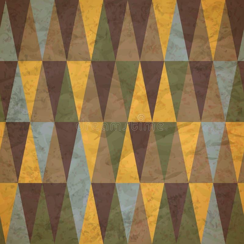Sömlös modell för tappning av slitna kulöra trianglar vektor illustrationer