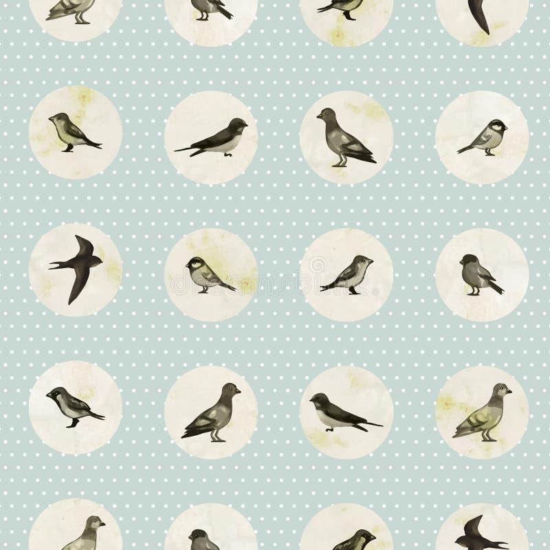 Sömlös modell för tappning med gulliga små fåglar royaltyfri illustrationer