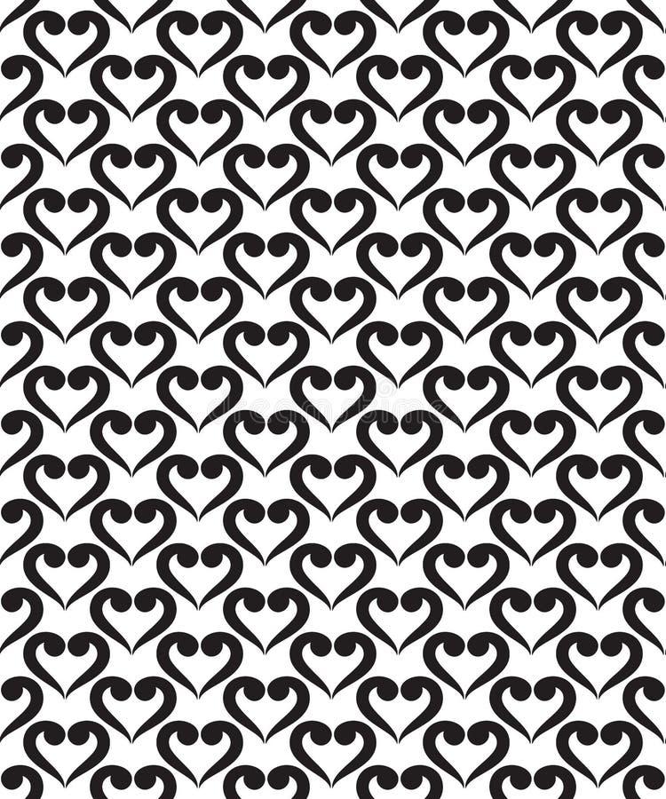 Sömlös modell för tappning med hjärtaform och virvlar, svartvitt sömlöst tryck stock illustrationer