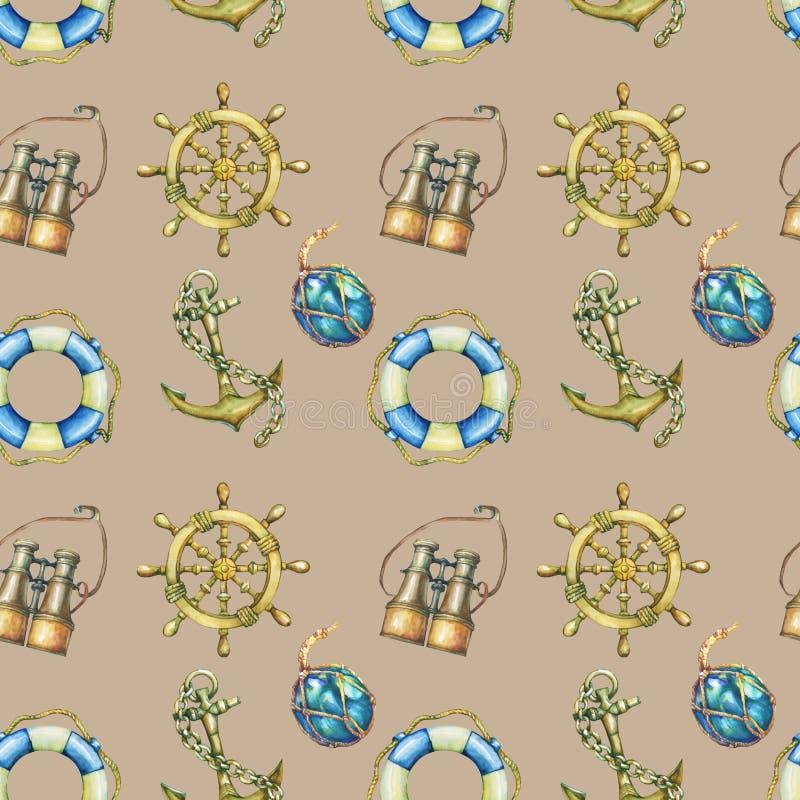 Sömlös modell för tappning med nautiska beståndsdelar, på sandfärgbakgrund Gammalt binokulärt, livboj, antik segelbåt ste stock illustrationer