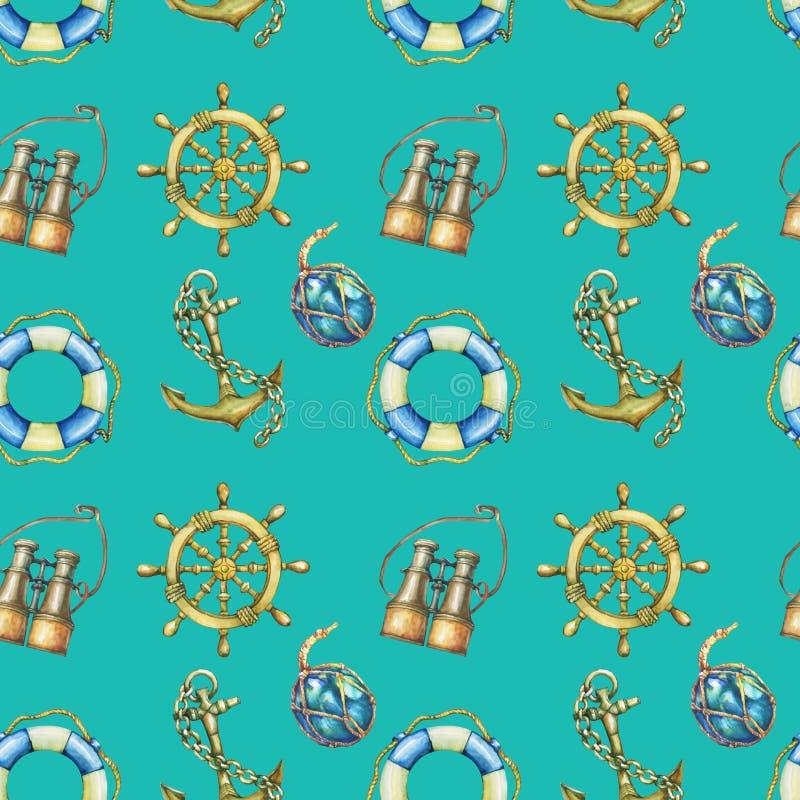 Sömlös modell för tappning med nautiska beståndsdelar som isoleras på turkosbakgrund Gammalt binokulärt, livboj, antikt segelbåtr royaltyfri illustrationer