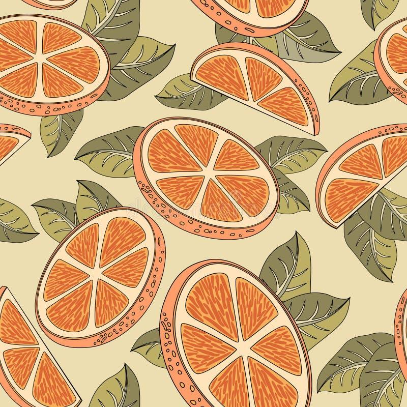 Sömlös modell för tappning med orange frukter stock illustrationer