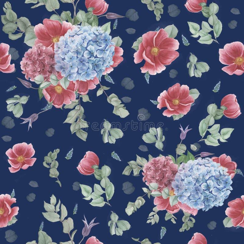Sömlös modell för tappning med rosa anemoner, eukalyptuns och blåa och rosa vanliga hortensior vektor illustrationer