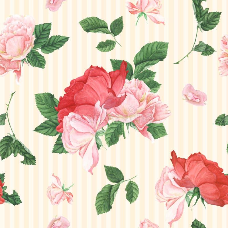 Sömlös modell för tappning med rosa rosor och sidor royaltyfri illustrationer