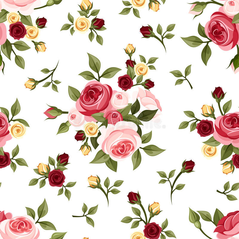 Sömlös modell för tappning med rosor. stock illustrationer