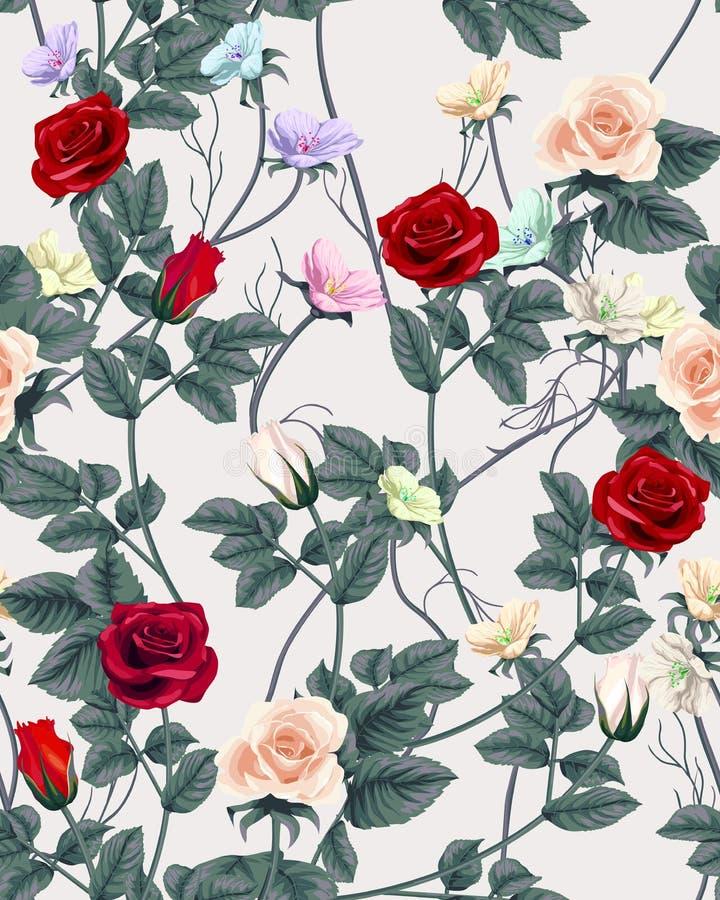 Sömlös modell för tappning med rosor också vektor för coreldrawillustration stock illustrationer