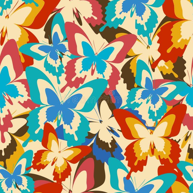 Sömlös modell för tappningbakgrund med färgrika fjärilar vektor illustrationer
