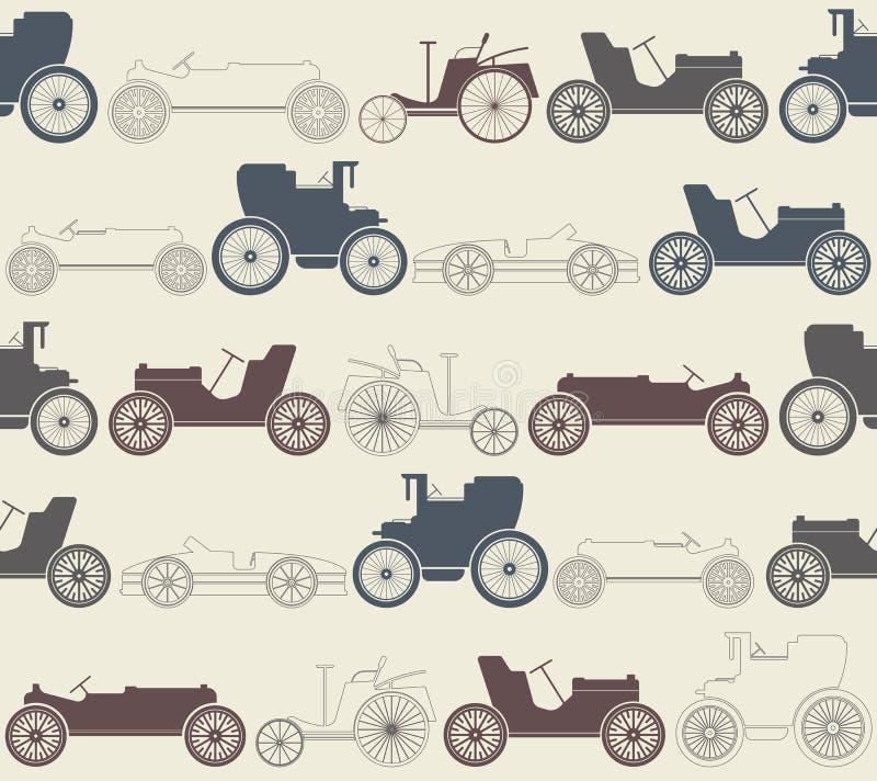 Sömlös modell för tappningbil royaltyfri illustrationer