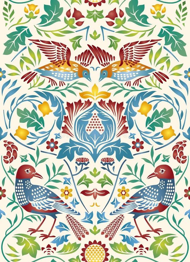 Sömlös modell för för tappningblommor och fåglar på ljus bakgrund sätta på land tidskriften för färgflickaillustrationen som läse stock illustrationer