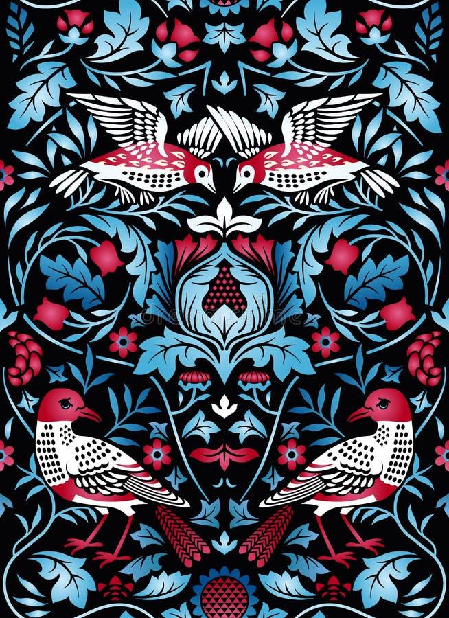 Sömlös modell för för tappningblommor och fåglar på svart bakgrund sätta på land tidskriften för färgflickaillustrationen som läs royaltyfri illustrationer