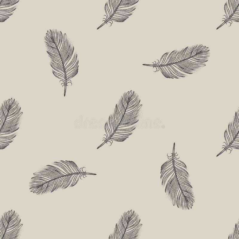 Sömlös modell för tappningflygfjäder royaltyfri illustrationer