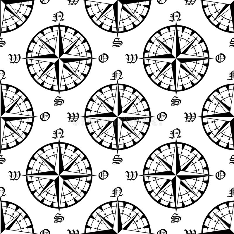 Sömlös modell för tappningnavigeringkompass vektor illustrationer