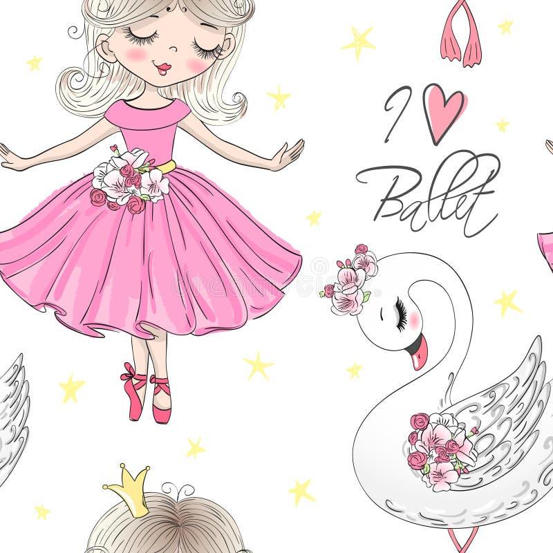 Sömlös modell för tecknad film med flickor för utdragen gullig liten prinsessa för hand felika vektor illustrationer