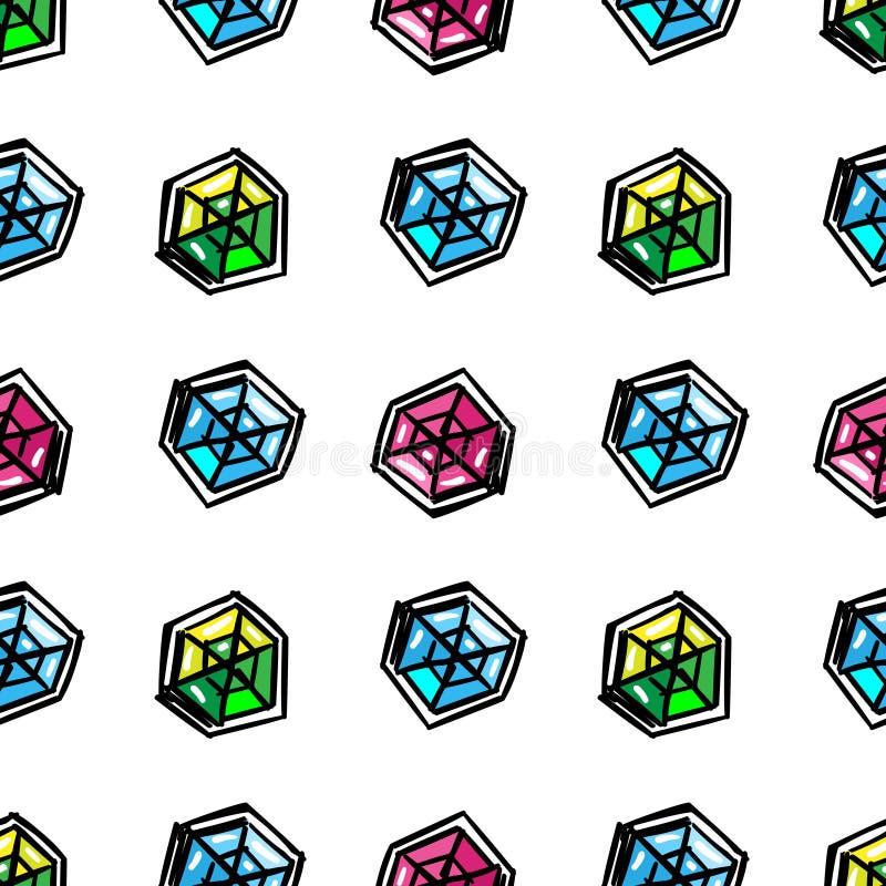 Sömlös modell för tecknad filmdiamanter vektor illustrationer