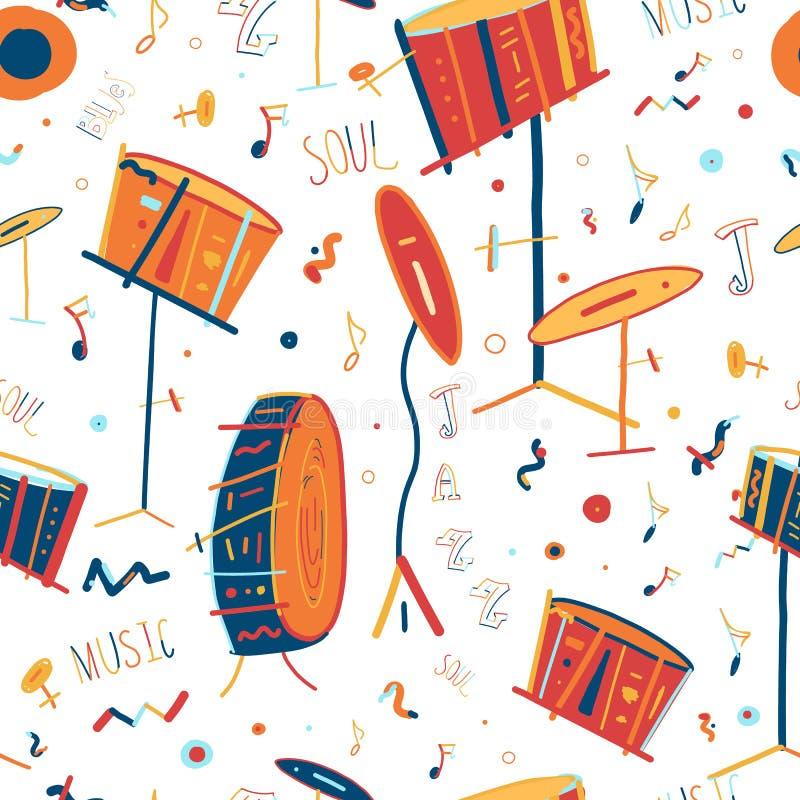 Sömlös modell för tecknad filmlineartmusikinstrument stock illustrationer