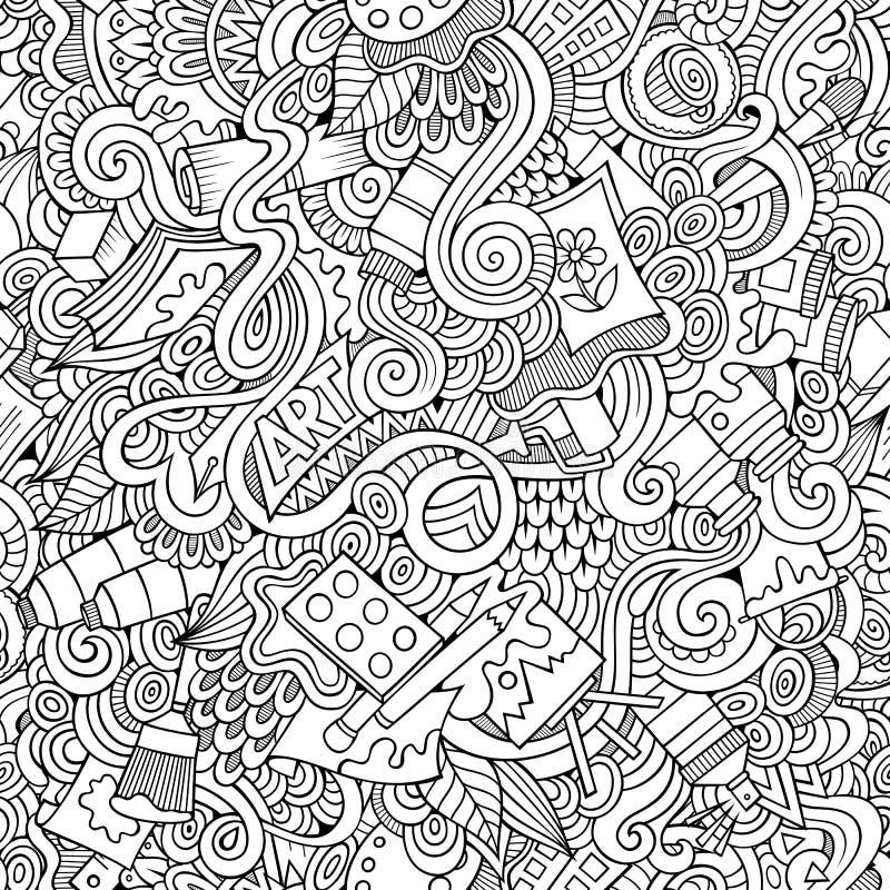 Sömlös modell för tecknad filmvektorkonsthantverk vektor illustrationer