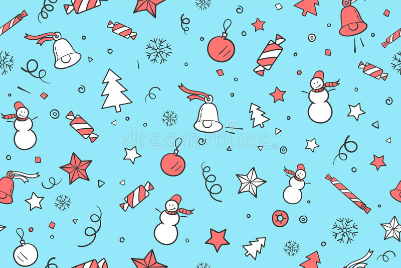 Sömlös modell för tema för jul och för lyckligt nytt år stock illustrationer