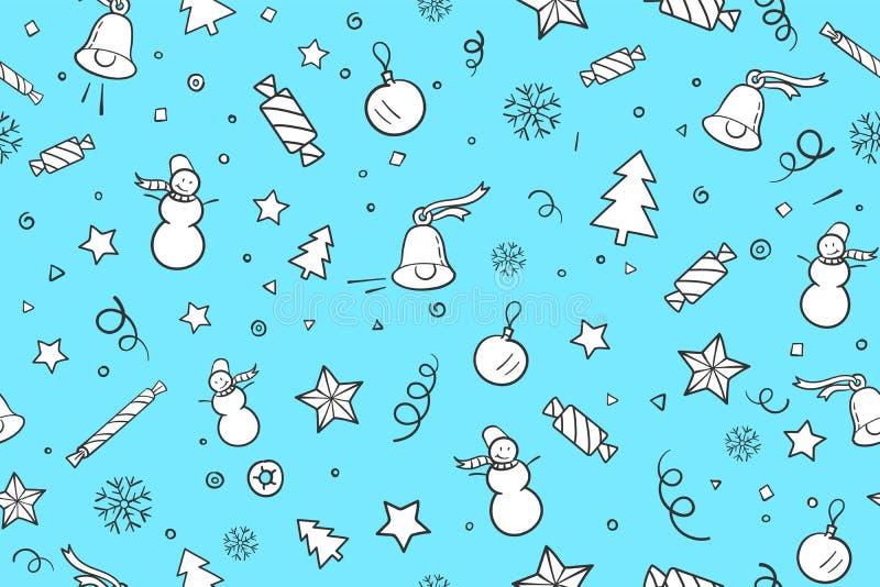 Sömlös modell för tema för jul och för lyckligt nytt år royaltyfri illustrationer