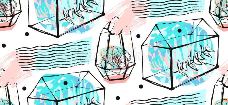 Sömlös modell för Terrarium Suckulenttextur Hand dragen minimalistic illustration Skandinavisk design med blom- stock illustrationer