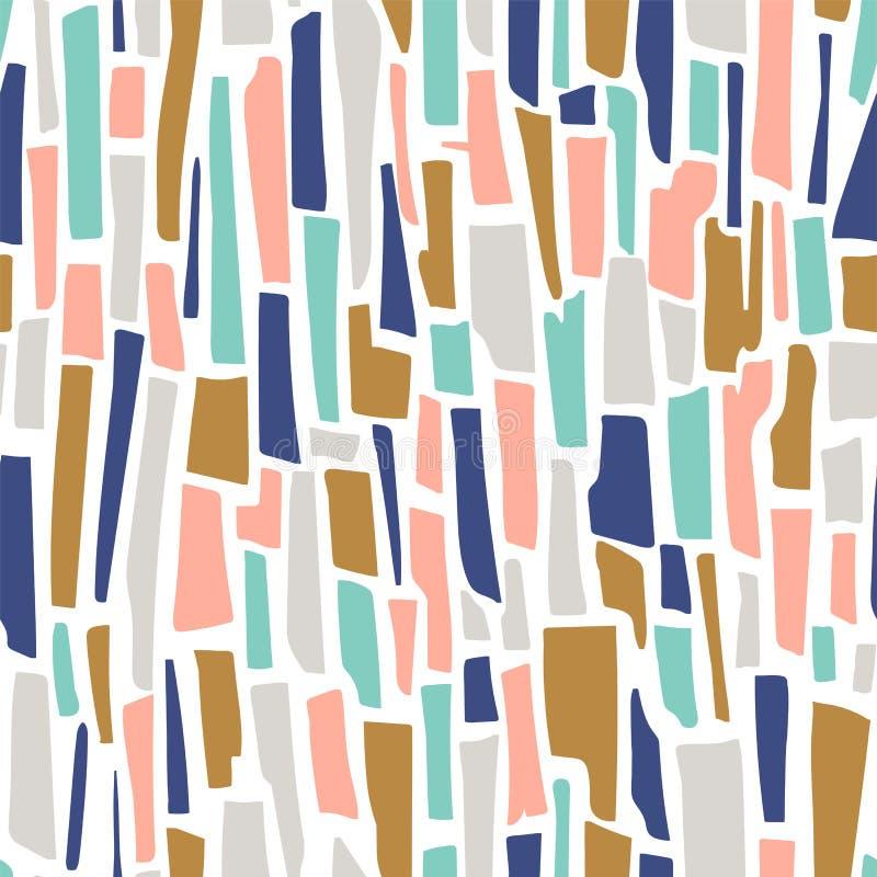 Sömlös modell för Terrazzovektor Abstrakt bakgrund med remsor royaltyfri illustrationer