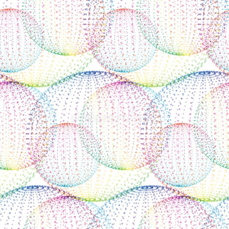 Sömlös modell för textil av bollar med texturmilticolorprickar stock illustrationer