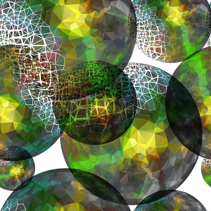 Sömlös modell för textil av bollen med gröna texturtrianglar stock illustrationer
